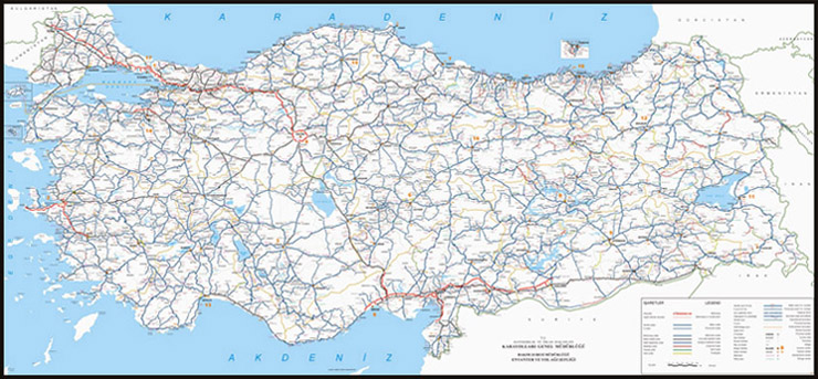 click on map to view high quality and bigger turkey road map with place names